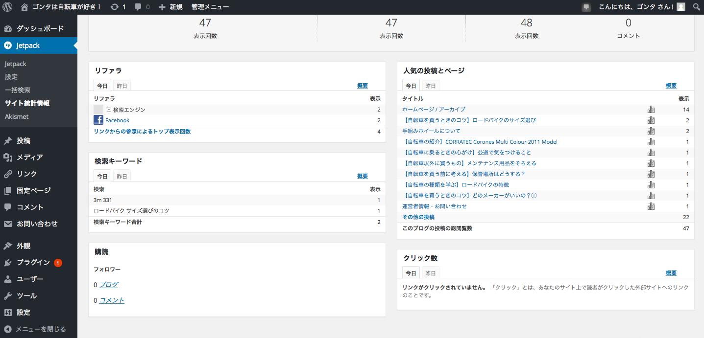 サイト統計情報のページ