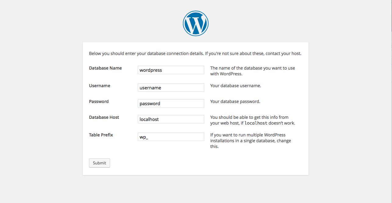 manual install of wordpress